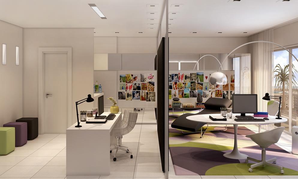 decoracao de interiores escritorio advocacia:mesa de trabalho não diretamente em frente à porta, mas olhando para